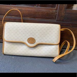 Vintage Gucci Tan Micro GG monogram Bag and Clutch